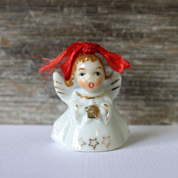 vintage Christmas bell porcelain angel mid century Christmas decoration ornament made in japan // 1950s