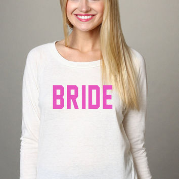 BRIDE Pink Soft Slouchy Comfortable Snow White Jersey Pullover Sweatshirt