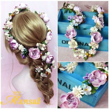 DCCKFV3 Baroque Flower Crown Bridal Hair Ornament Bohemian Rose Headbands Girls Flower Wreath Hair Jewelry Christmas Hair Wreath SG223