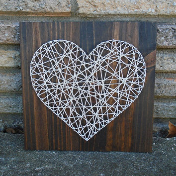 String Art Heart, Cotton Twine, Heart Sign - Rustic Sign, Rustic Decor, Farmhouse Decor, Nursery Decor, Rustic Wedding Decor - 12 x 12""