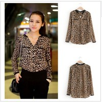 2015 Women Blouse Leopard Print Shirt Long sleeve V -Neck Top Loose Blouses Plus Size Chiffon Shirt Camisa Feminina Clothing