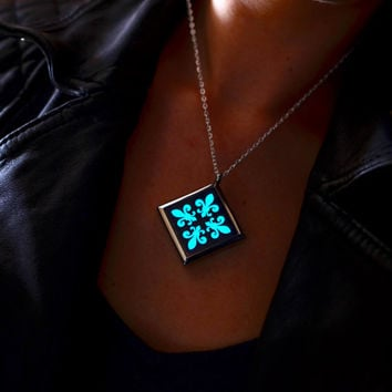Glow In The Dark Necklace - Aqua Glow Pendant - Mothers Day Gift - Glow Jewelry - Gifts for Her - Gift for Women - Anniversary - Birthday