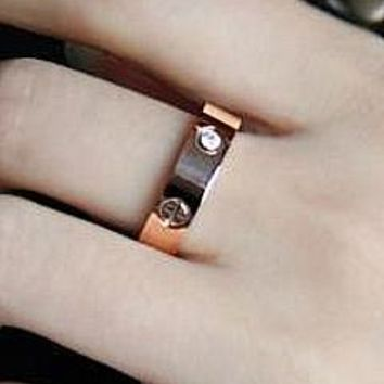 CartierTrending Fashion Simple Cute Couple Rings Women Ring Rhinestone Ring G