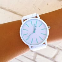 White Mint Silicone Watch