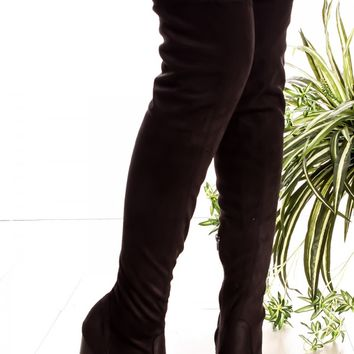 BLACK SUEDE MATERIAL SIDE ZIPPER ALMOND TOE OVER THE KNEE PLATFORM HIGH HEEL BOOTS