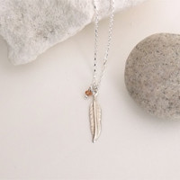 VALENTINE'S DAY, Rose Gold Feather Necklace, Silver Necklace Topaz Gemstone Dangle Drop Woodland Jewelry Delicate Rustic Silver