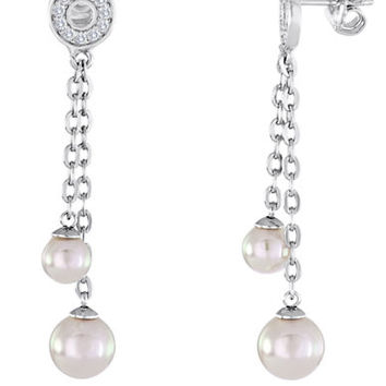 Majorica Sterling Silver and 6.8MM Pearl Chain Drop Earrings