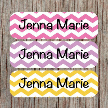 56 Personalized Waterproof Name Labels Chevron Dishwasher Safe Labels Daycare Girl Baby Bottles Sippy Cup Sticker Daycare School Camp -Jenna