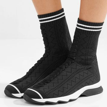 FENDI Stretch-knit sneakers