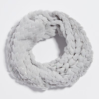 faux fur cowl scarf with sequins in gray