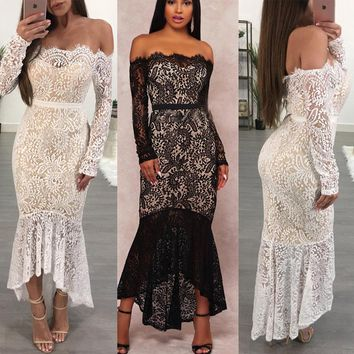 Kowell 2018 New Fashion Summer Sexy Women Lace and Polyester material bare back lace hollowed-out Bodycon Long dress.