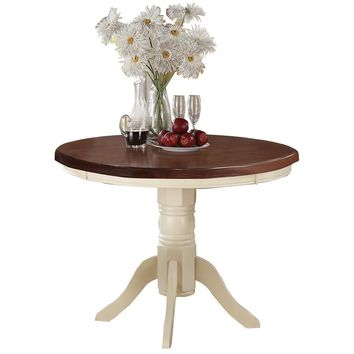 Acacia Rubber Wood Round Dining Table, Brown & Cream