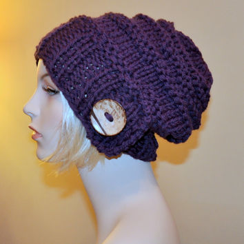 Slouch Beanie Slouchy Hat Big Button CHOOSE COLOR  Eggplant Purple Gift under 50