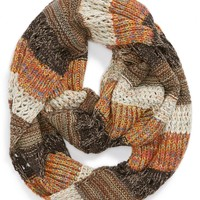 Stripe Mixed Knit Infinity Scarf