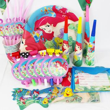 36pcs/Set Little Mermaid Party Supplies Luxury Decoration Birthday Party Pack for Kids Disposable Tableware Sets