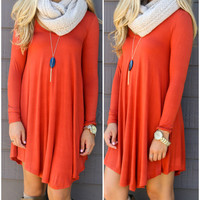 Follow Your Heart Rust V-Neck Long Sleeve Dress