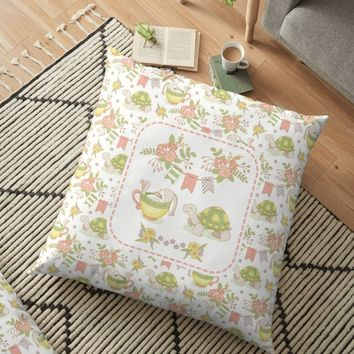 'Hare and Tortoise' Floor Pillow by miavaldez