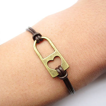 Lover Bracelet---antique bronze love lock&brown leather chain