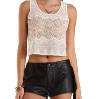 Sheer Embroidered Chiffon Crop Top by Charlotte Russe