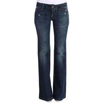 Blue Cotton Flare Boot Cut Jeans