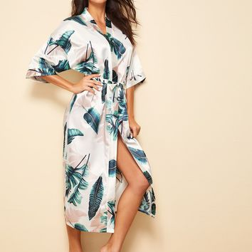 Tropical Print Satin Belted Robe