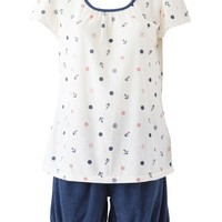 Marin pile retro short sleeve pajamas: Room wear | tutu Anna official online store - tutuanna