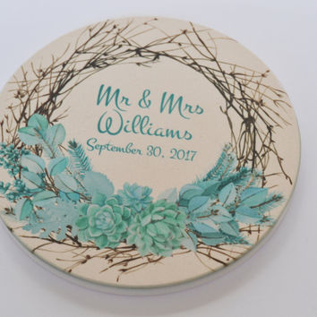 Custom Coasters, Personalized Coasters, Wedding Favors, Party Favor, - Wedding Gift, Succulent Coaster, Wedding Gifts for Her, Pesonalized