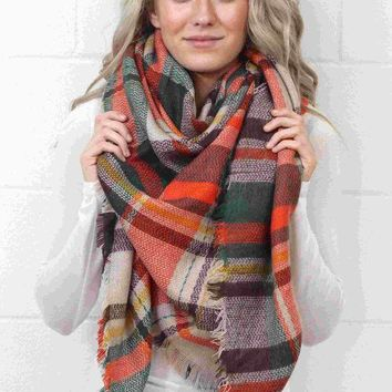 CREYON Day First Cozy Plaid Blanket Scarf {Forest/Orange Mix}