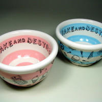 Bake and Destroy! doodles small bowl in pink stripes. In Stock.