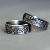 PAISLEY Wedding Band SET, His and Hers , Wide Band, Rustic, Promise, Engagement, Everyday Rings