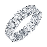 Pear Cut Eternity Ring White Gold On 925 Silver Cubic Zirconia Solitaire Wedding