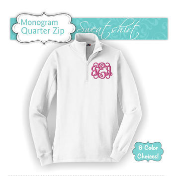 1 - Monogram Quarter Zip Pullover, Quarter Zip Sweatshirt, Monogram Fleece Quarter Zip, Quarter Zip Shirt, Embroidered Shirt, College Shirt