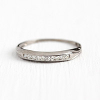 Diamond Wedding Band - Vintage 18k White Gold .10 CTW Ring - Size 5 Art Deco 1940s Wedding Fine Bridal Channel Set Half Eternity Jewelry
