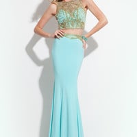 Rachel Allan 7252 Gold Beadwork Prom Dress