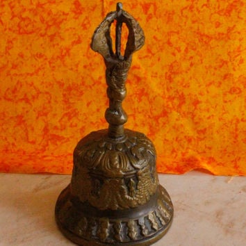 Vintage Brass Temple Hand Bell Made in India