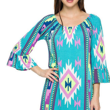 Aztec print ruffle sleeves shift dress