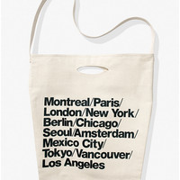 Cities Print Denim Oversized Tote | American Apparel