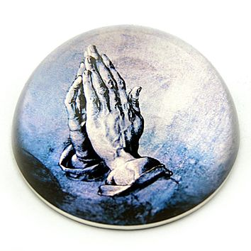 Praying Hands of Apostle Christian Faith Glass Paperweight by Albrecht Durer 3W
