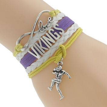 Infinity Love Minnesota state Vikings Football Team Bracelet yellow white purple Customize Sport friendship