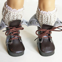 American Girl Doll Clothes - Knit Boot Toppers, Lace  Boot Cuff,  Leg Warmers, 18 inch clothes,  AG ,  boot topper/cuff,  AG boot cuff,