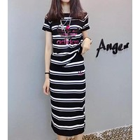 """Adidas"" Women Casual Fashion Sequin Letter Multicolor Stripe Short Sleeve Tops Long Skirt Set Two-Piece"