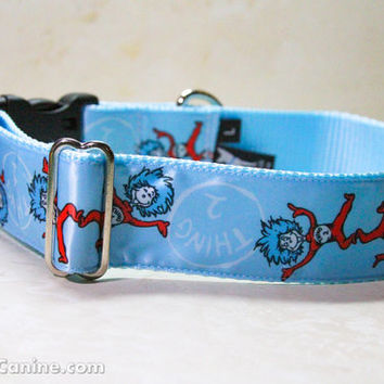 Dr. Seuss dog collars : Thing 1 and Thing 2 (Cat in the Hat) - WIDE width buckle OR martingale dog collar