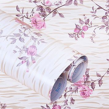 yazi Vintage Flower Peony Self Adhesive Sticker Peel & Stick Shelf Drawer Liner Wallpaper 200x45cm