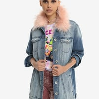 Pink Faux Fur Trim Girls Denim Jacket