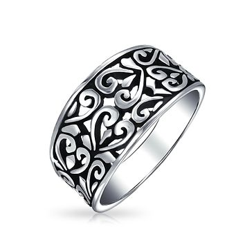 Boho 925 Sterling Silver Open Swirl Hearts Filigree Wide Band Ring 4MM