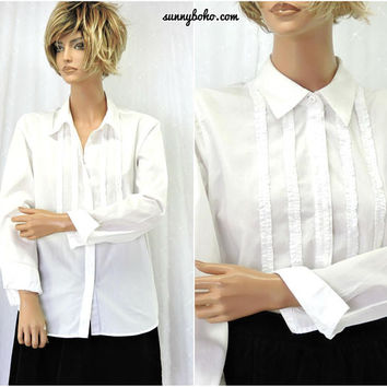 white cotton blouse / size M / 90s ruffle front long sleeve tuxedo shirt / blouse / SunnyBohoVintage