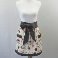 Womens Cupcake Apron, Half Apron, Cream and Black, Polka Dots, Cotton, Vintage Style, Hostess, Bridal Shower, Birthday Gift for Her