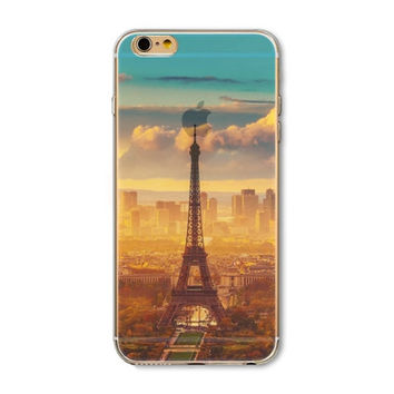 Beautiful City Eiffel Tower Scenery Transparent Crystal Soft Silicon Phone Case Shell Cover For Apple iPhone 6/6s