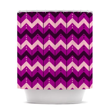 "Nick Atkinson ""Chevron Dance Purple"" Shower Curtain"