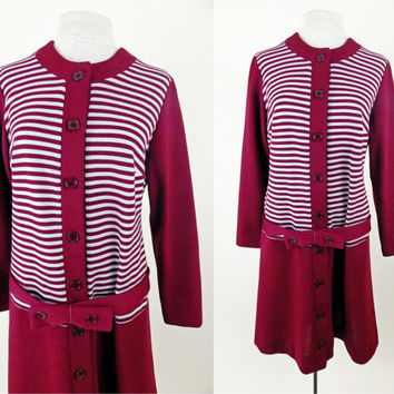 1960s Maroon Shift Dress // Stripes and Polyester // Button Front // Long Sleeve // Large